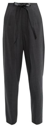 Toga Windowpane Check Tie Waist Trousers - Womens - Grey