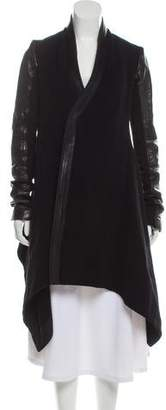 Rick Owens Leather-Trimmed Asymmetrical Coat