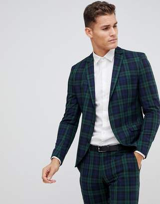 Selected Blackwatch Green Check Suit Jacket In Skinny Fit