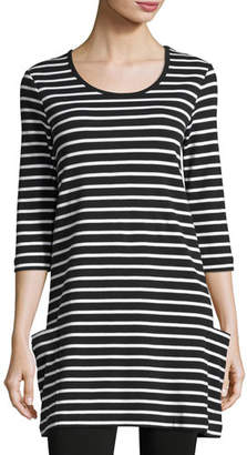 Joan Vass Striped Cotton Interlock Tunic, Black/White, Petite