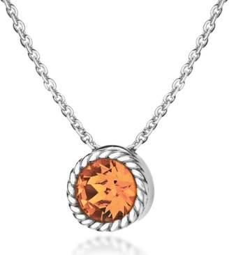 Swarovski Tuscany Silver Women's Sterling Silver Golden Yellow Crystal November Birthstone Necklace of Length 46 cm/18 Inch