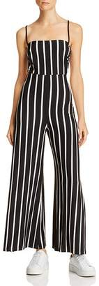 Olivaceous Strappy Striped Jumpsuit