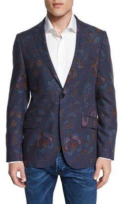Etro Paisley-Print Wool Blazer, Blue Multi $1,535 thestylecure.com
