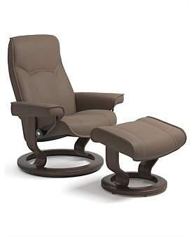 Stressless 'Senator' Medium Chair With Foot Stool - Batick Mole