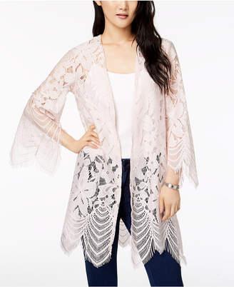 Love, Fire Juniors' Scalloped Lace Kimono