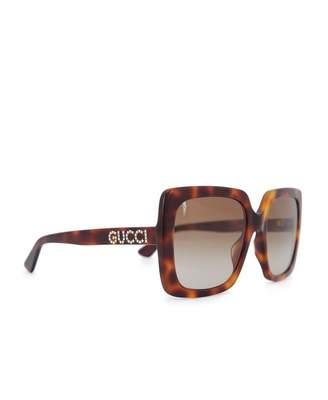 Gucci Glitter Square Sunglasses Colour: HAVANA, Size: One Size