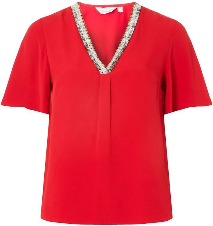 Dorothy Perkins Petite Red Trim V-Neck Top