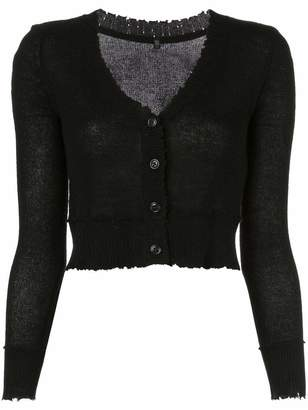 R 13 Baby Button Down Cropped Distressed Cardigan
