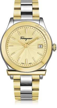 Salvatore Ferragamo 1898 Stainless Steel and Gold IP Women's Bracelet Watch w/Sunray Guilloche' Dial