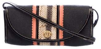 Eric Javits Patent Leather-Trimmed Woven Clutch