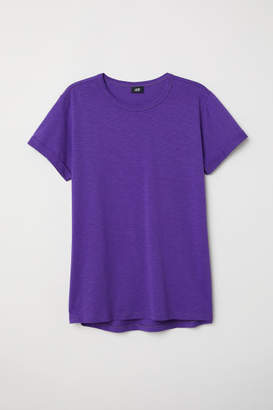 H&M Slub Jersey T-shirt - Purple