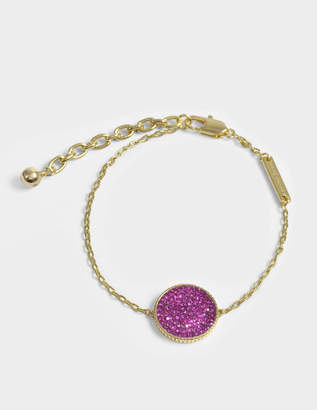 Marc Jacobs Double Sided Medallion Bracelet in Gold and Fuchsia Brass
