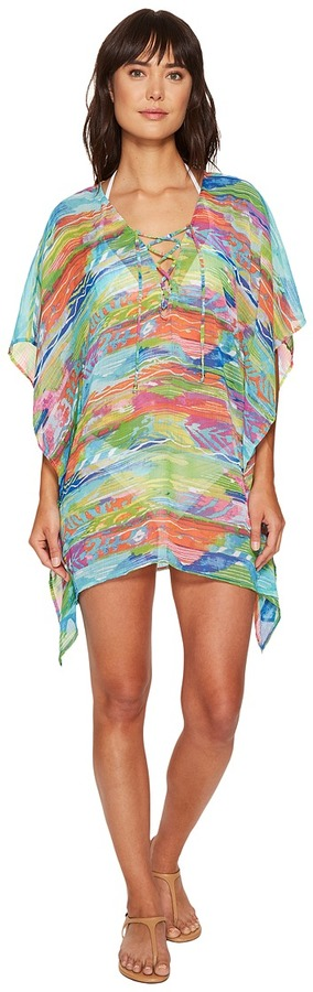 Lauren Ralph Lauren LAUREN Ralph Lauren - Ikat Stripe Crinkle Poly Chiffon Laced Tunic Cover-Up Women's Swimwear