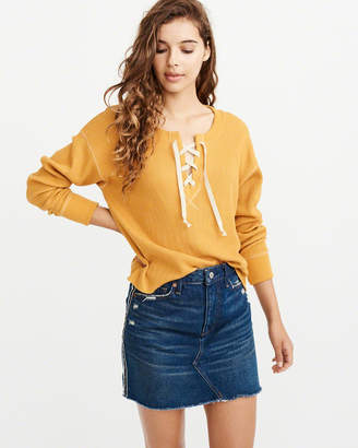 Abercrombie & Fitch Waffle Lace-Up Top