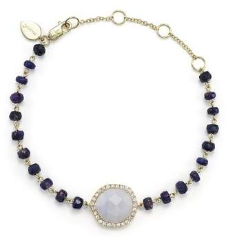 Meira T 14K Yellow Gold, Blue Lace Chalcedony and Sapphire Bead Bracelet with Diamonds