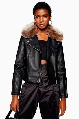 Topshop Faux Fur Collar PU Biker Jacket