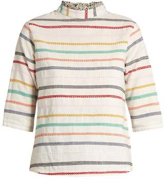 Ace&Jig Sylvia high-neck embroidered-stripe cotton top