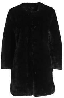 Saks Fifth Avenue COLLECTION Faux Fur Plush Car Coat
