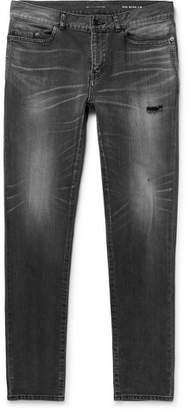 Saint Laurent Skinny-Leg 15cm Hem Distressed Denim Jeans