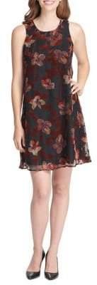 Tommy Hilfiger Collegiate Velvet Floral Chiffon Trapeze Dress