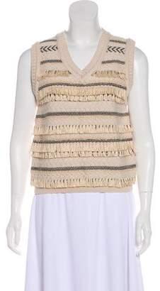 Tory Burch Fringe Sleeveless Knit Sweater