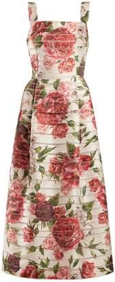 Dolce & Gabbana Peony and rose-print midi dress