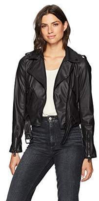 Moto Celsius Women's Pu Jacket with Multiple Zippers