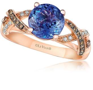 LeVian Le Vian Women's Chocolate & Vanilla Diamond, Blueberry Tanzanite and 14K Strawberry Gold Ring