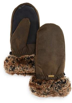 Barbour Faux Fur Trim Mittens