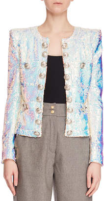 Balmain Allover Paillettes No Closure Jacket