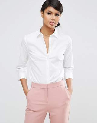 Asos Design DESIGN 3/4 sleeve shirt in stretch cotton