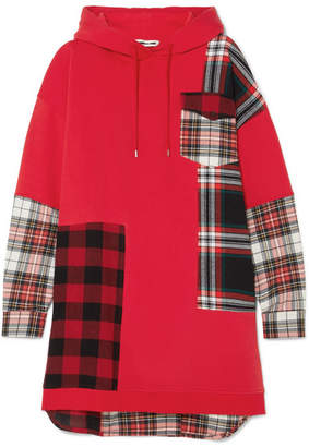 McQ Hooded Oversized Patchwork Cotton-jersey And Checked Flannel Dress - Red