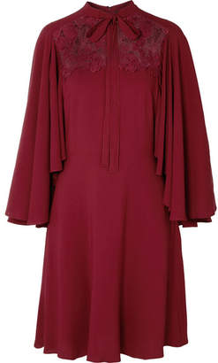 Giambattista Valli Cape-effect Lace-paneled Crepe Dress