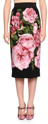 Dolce & Gabbana Rose-Print Pencil Skirt, Rose Pink/Black $995 thestylecure.com