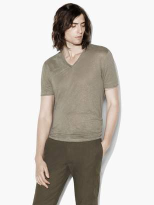 John Varvatos V-Neck Tee With Jersey Details