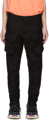 Julius Black Cotton Stretch Back Cargo Pants
