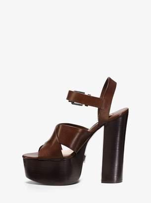 Michael Kors Crista Calf Leather Platform Sandal