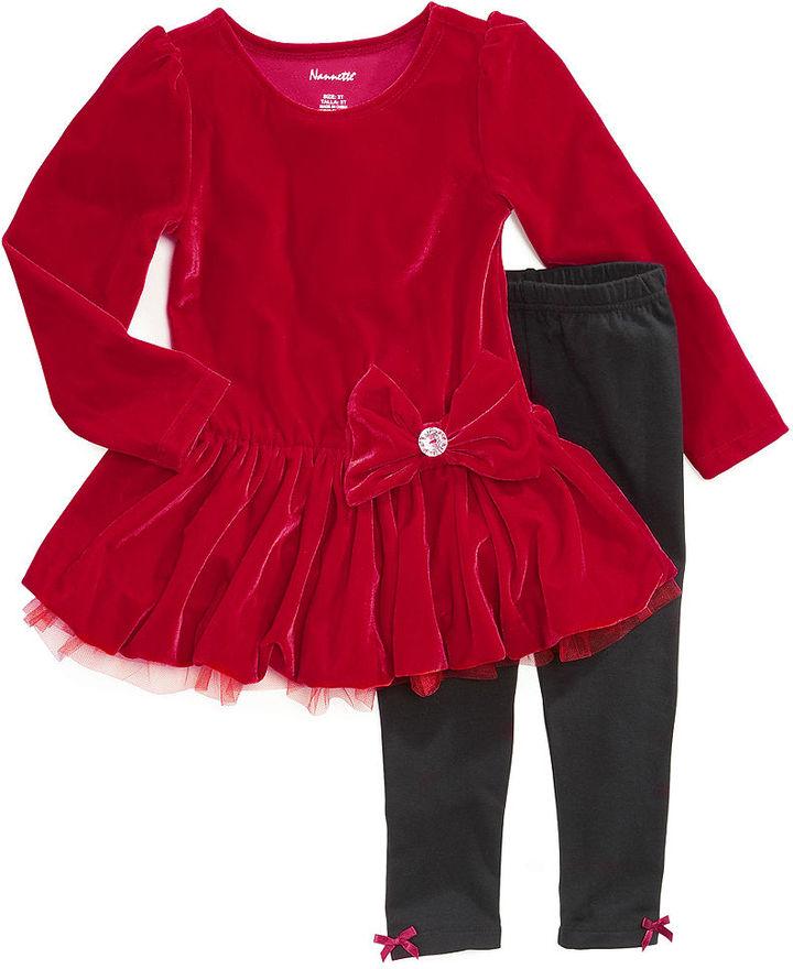 Nannette Kids Set, Little Girls 2-Piece Velvet Tunic and Leggings