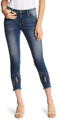 Miss Me Feather Embroidered Cropped Skinny Jeans