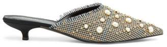 Erdem Fari Faux Pearl And Stud Houndstooth Mules - Womens - Brown Multi