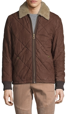 TimberlandLeather Quilted Shearling Collar Jacket