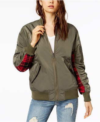 KENDALL + KYLIE Plaid-Trimmed Bomber Jacket