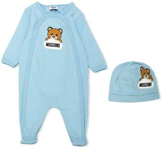 Moschino Kids teddy logo babygrow and hat gift set