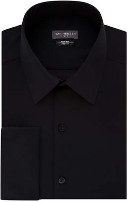Van Heusen Flex Collar French Cuff Long Sleeve Twill Dress Shirt - Slim Fit