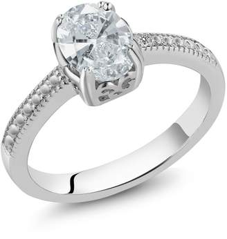 Swarovski Gem Stone King 1.22 Ct 925 Sterling Silver Engagement Ring Made With Oval Zirconia
