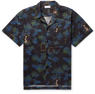 John Elliott Camp-Collar Printed Cotton-Poplin Shirt