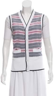 Black Fleece Striped Button-Up Vest