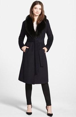Ellen Tracy Genuine Fox Collar Wool Blend Long Wrap Coat $675 thestylecure.com
