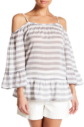 Beach Lunch Lounge Lexi Striped Cold Shoulder Shirt $49 thestylecure.com