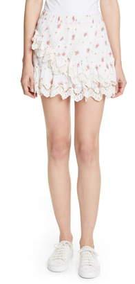 LoveShackFancy Emma Asymmetrical Ruffle Miniskirt